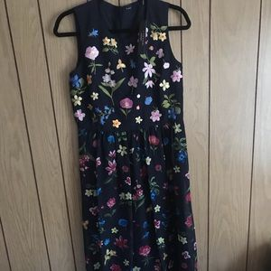 Tahari Maxi Dress With Embroidered Flowers
